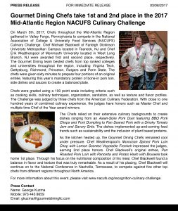 Press Release - Gourmet Dining - Chef Michael Blackwell and Chef Erik Weatherspool at NACUFS Culinary Challenge Crop